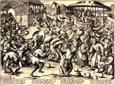 """Fête des fous, 1559, d'après Brueghel gravé par Pieter Van der Heyden  (see Book I)  wikipedia: """"Elle avait pour objet d'honorer l'âne qui porta Jésus lors de son entrée à Jérusalem, était répandue dans toute la France au Moyen Âge et se célébrait le jour de la Circoncision en janvier. On chantait un office, puis on faisait une procession solennelle et l'on se livrait à toutes sortes d'extravagances."""""""