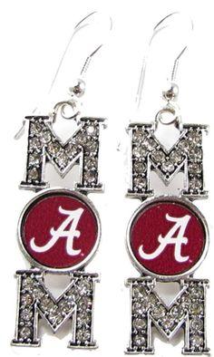 "Alabama Crimson Tide NCAA ""Mom"" Silver Earrings"