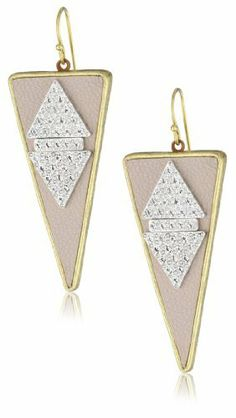 """Sandy Hyun """"Deluxe Deco"""" Blush Leather with Crystal Rhinestone Triangle Drop Earrings Sandy Hyun. $105.00. Made in  United States"""