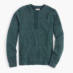 A classic henley-style sweatshirt is proof that even sweats can look smart. <ul><li>Cotton/poly.</li><li>Rib trim at neck.</li><li>Long sleeves.</li><li>Machine wash.</li><li>Import.</li></ul>
