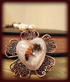 Apis Mellifera Real Honeybee Necklace    Insect by KillJarJewelry, $20.00