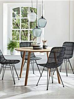 Flat Rattan Dining Chair - Black - Luxury Chairs - Luxury Seating - Luxury Home Furniture Kitchen Table Chairs, Rattan Dining Chairs, Kitchen Table Makeover, Glass Dining Table, Scandi Dining Table, Wooden Chairs, Lounge Chairs, Round Wood Table, Oak Table