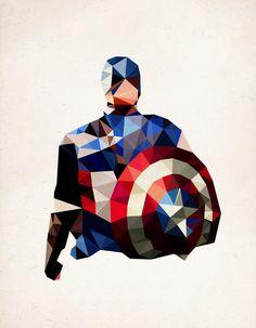 Polygon Heroes: Captain America - Cubist Illustrations by James Reid James Reid, Illustrations, Illustration Art, Iron Man Capitan America, Captain America Art, Comic Art, Comic Books, Images Star Wars, Polygon Art