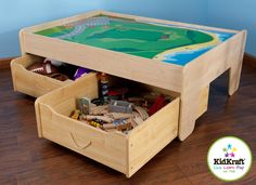 Storing large play pieces like train tracks and train accessories is simple with our handy Trundle Drawers. Designed to withstand rigorous use, our Trundle Draw