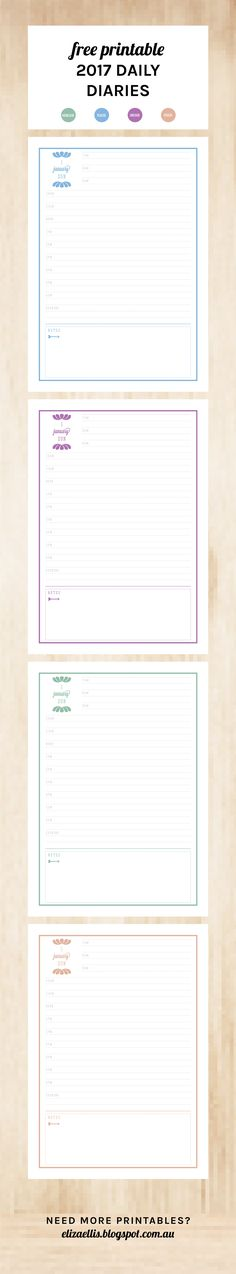 Free Printable 2016 Daily Diary by Eliza Ellis. Available in 4 colors and with a… Smash Book Planner, Planner Pages, Weekly Planner, 2016 Planner, Printable Letters, Printable Planner, Free Printables, Daily Printable, Daily Diary