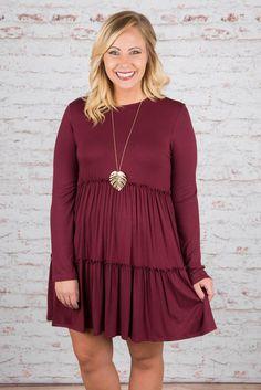 Classic Beauty Dress, Burgundy