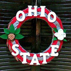 """16"""" Felt Leaf Ohio State Buckeyes Wreath"""
