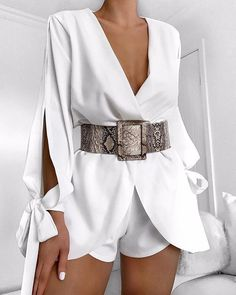 For an office look, turn to a stylish tight romper which can show women's charm and grace. outfit romper,romper and tights,romper casual,romper style White Outfits, Classy Outfits, Trendy Outfits, White Outfit Party, White Romper Outfit, Summer Outfits, Romper Dress, Romper Pants, Party Outfits