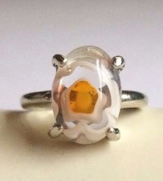 Silver Millefiori Cocktail Ring Plated Murano Style Glass Flowers Size 6 Yellow #Handmade #Cocktail