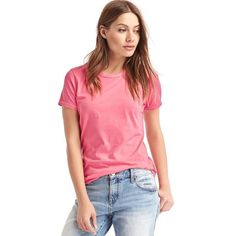 Gap Women Vintage Wash Sueded Crewneck Tee ($25) ❤ liked on Polyvore featuring tops, t-shirts, regular, sugar coral, crew neck t shirt, crew t shirts, gap tees, crew neck tee and short sleeve t shirts