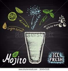 Colored chalk drawn illustration of mojito with ingredients. Alcohol cocktails theme.