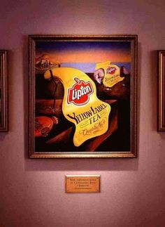 Salvatore Dali 1  Lipton's take on Dali's famous melted watches, melted lipton labels.  The surrealistic painter had created some ads himself, but not only. His style was also often copied in advertising.