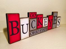 These fun blocks will add a unique touch of school spirit to your home decor. These blocks have been hand cut, hand painted and distressed with quality scrapbook paper applied. When assembled the blocks stand between 6-4 inches tall and 20 inches wide. This set is a perfect gift for