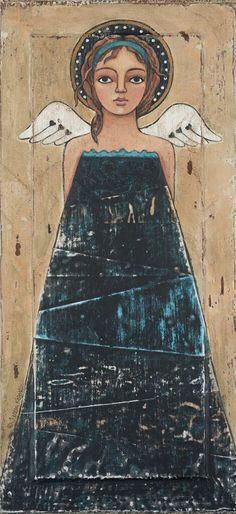 Blue on Black original acrylic painting on an antique door panel by ©Teresa Kogut, all rights reserved. Colonial Art, Angel Drawing, American Art, Early American, Angel Art, Christian Art, Religious Art, Illustrations, Black Art