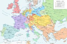 Map of Europe after the Congress of Vienna (1815). The Congress aimed to restore the balance of power on the European continent following the Napoleonic Wars (1803-1815)