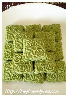 Matcha Almond Cookies(绿茶翡翠饼干)#guaishushu #kenneth_goh     #matcha_almond_cookies   #绿茶杏仁饼干