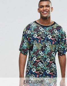 Reclaimed Vintage Festival T-Shirt In Tropical Print