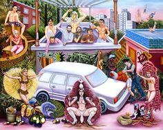 oão di Souza, brasileiro de Itabuna - Bahia de Todos os Santos, nasceu em julho de 1976. Quando jovem envolveu-se com a maravilhosa vida circense, vendo a beleza do movimento corporal e teatral existente no circo, daí nascendo sua iniciação totalmente autodidata expressada em suas pinturas coloridas como a natureza baiana. Sob influência de artistas figurativos da América Latina, realiza o encontro do universo sensual e festivo.