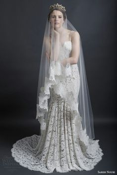 Sarah Nouri Bridal Collection 2016....All Lace Mermaid Gown & Cathedral Length Drop Veil With Beautiful Lace Edge~~