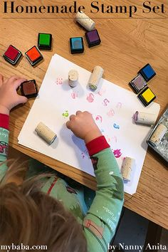 Making your own homemade stamp set is really simple. No need to spend a fortune on buying a set when you can just make your own. Painting Activities, Alphabet Activities, Infant Activities, Activities For Kids, Crafts For Kids, Arts And Crafts, Homemade Stamps, Homemade Toys, Busy Boards For Toddlers