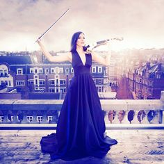 Linzi Stoppard from FUSE VIOLIN Band posing on the roof at Selfridges.