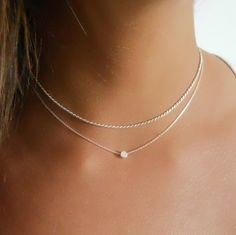 Silver Rope Choker and Dot Necklace - Set Of 2 Silver Necklaces (SNS53 – annikabella
