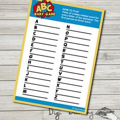 Superhero Baby Shower Games ABC Baby Game by DigiDoodling on Etsy