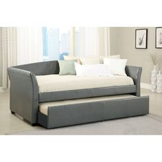 Have to have it. Furniture of America Contemporary Leatherette Upholstered Daybed with Trundle - $769.99 @hayneedle