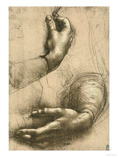 Study of Female Hands, Drawing, Royal Library, Windsor Giclee Print by Leonardo…