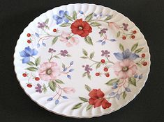 Vintage Red Pink Poppies Cake  Dinner Plate Swirl Gold Rim