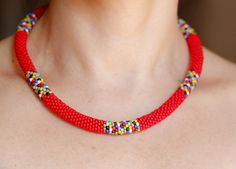 Red African Necklace African Inspired Necklace Beadwork