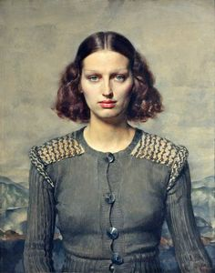 Gerald Leslie Brockhurst (October 31, 1890 – May 4, 1978) was an English painter and etcher. portrait of his second wife Kathleen Woodward 'Dorette' title Jeunesse dorée, 1934
