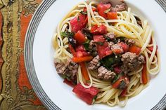Pasta with Sausage, Tomatoes and Roasted Peppers ~ Pasta served with ...