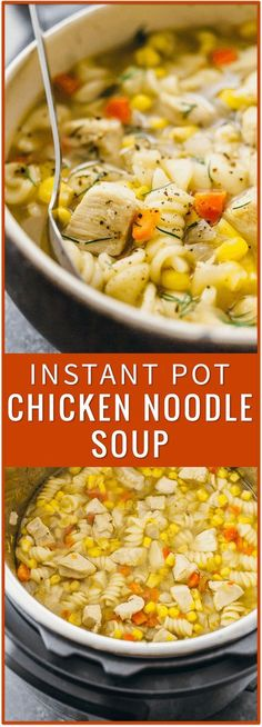 Instant pot chicken noodle soup, homemade, easy, from scratch, pressure cooker, healthy, recipe, fast, best, crock pot, pioneer woman, slow cooker, paula deen, campbells, tortellini, creamy, rotisserie via @savory_tooth