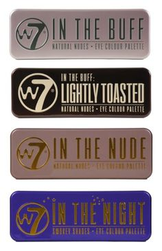 W7's Ultimate Eyeshadow Collection with Four 12-in-1 palette sets: In the Buff+ In The Nude + In The Night + Lightly Toasted