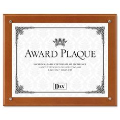 DAX 10-1/2 by 13-Inch Plaque-in-an-Instant Wood/Acrylic Frame Kit with Certificate/Mats, Walnut *** Check out this great image  : Home Decor Plaques