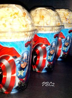 Avengers Birthday Party Popcorn Boxes with dome by JaymesPartyBox