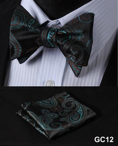 Blue Yellow Paisley 100%Silk Jacquard Woven Butterfly Self Bow Tie Suit Set
