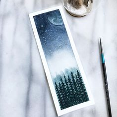 Moonlight pinetree watercolour bookmark