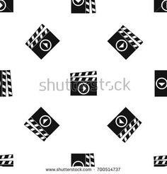 Clapperboard for movie shooting pattern repeat seamless in black color for any design. Vector geometric illustration