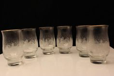 Libbey Holiday Winter Scene Etched Footed Clear Tumbler Glass Gold Trim Set of 6