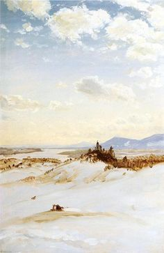 Scène d hiver, Olana, huile de Frederic Edwin Church (1826-1900, United States)