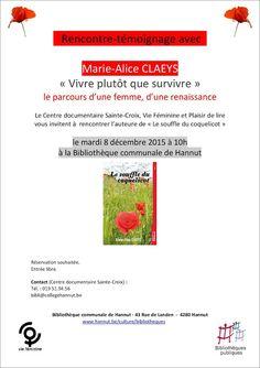 Escapages: Rencontre-témoignage avec Marie-Alice CLAEYS à la Bibliothèque communale de Hannut