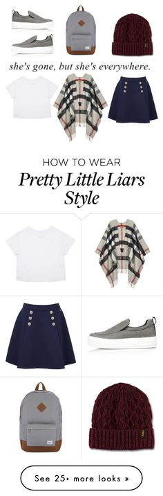 """""""Untitled #179"""" by aesxhexically on Polyvore featuring Burberry, Tommy Hilfiger, River Island, Herschel Supply Co. and Dr. Martens"""