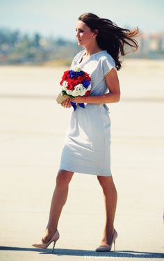 Duchess upon her arrival in California.  July 2011. This photo is regal. Catherine looks every bit the ambassador of Great Britain.