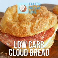 """Cloud bread is a great substitute for bread on the ketogenic diet. The term """"cloud"""" comes from the fact that its quite light and fluffy tasting, which comes from the egg whites being mixed and folded into the rest of the recipe. Sugar Free Recipes, Low Carb Recipes, Ketogenic Recipes, Ketogenic Diet, Keto Burger, Burger Bun, Food Videos, Recipe Videos, Bread Substitute"""