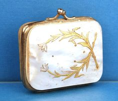 Antique Nineteenth Century French Mother of Pearl/Brass, Silver Inlay Porte Monnaie