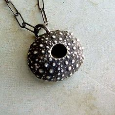 Want one!!!    Sea Urchin Necklace  Black  Sterling Silver  Spiky  by andyshouse, $40.00