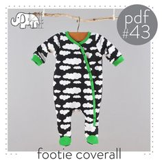 Baby footed one piece pattern, pdf download, photo tutorial, sizes Preemie to 3T. -Pattern 43