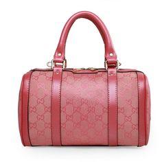 Gucci 269876 Vintage Web GG Denim Boston Bag Pink-Glod